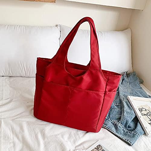 Bookworm Bolsa de viaje portátil de gran capacidad, simple, ligera, impermeable, oxford, hombro, equipaje, fitness femenina (color: vino tinto, tamaño: grande)