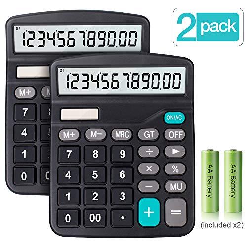 Taschenrechner, Große Tasten Großes Display Taschenrechner, 12 Stellig Standard Taschenrechner, Solar und Batterie Bürorechner, Einfache Rechenmaschine (Schwarz-2 Pack)
