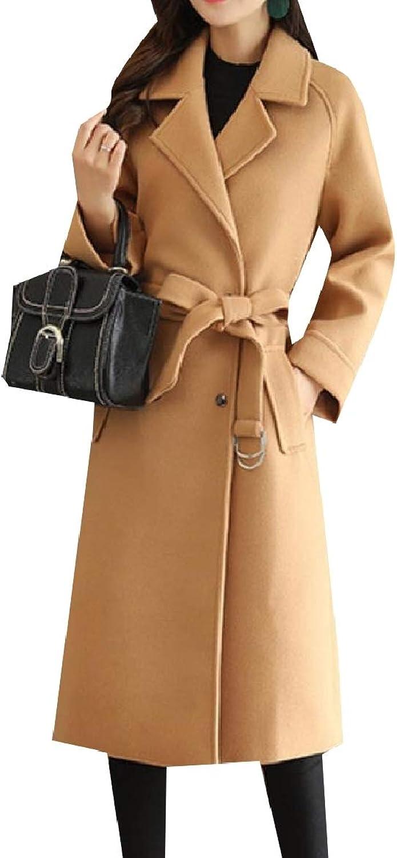 Baseby Women's Cozy Overcoat Trench Belted Woolen Button Lapel Jacket Coat