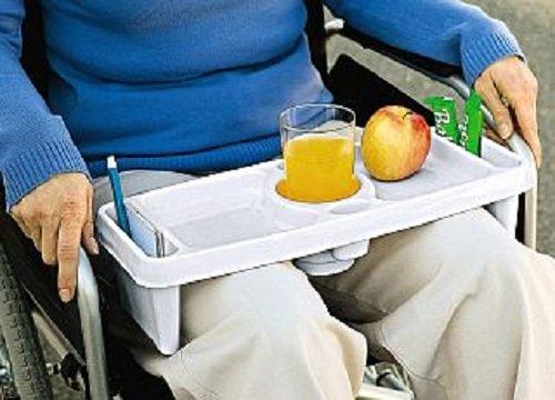 Bein Tablett weiß Betttisch Bett Tisch für Rollstuhlfahrer Beintablett 42x17 cm