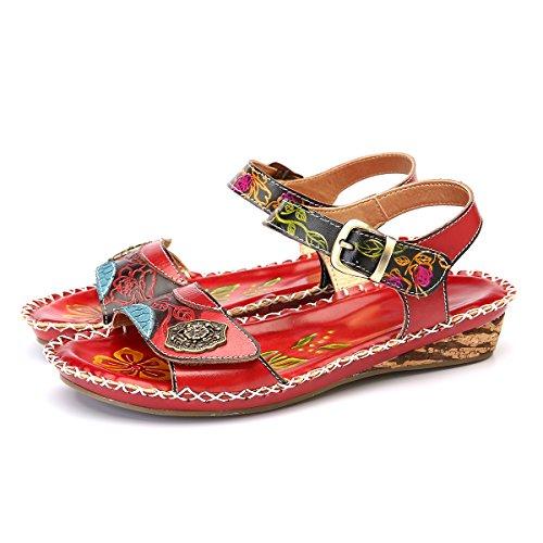 gracosy Damen Sandalen, Pantoletten Sommer Schuhe Slingback Sandalen Zehentrenner High Heels Leder Slipper Pumps Hausschuhe Blumen