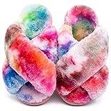 Girls Fluffy Slippers Kids Leopard Tie Dye Open Toe Memory Foam Slides Sandals Soft Plush Cross Band House Shoes Indoor Outdoor Slip On