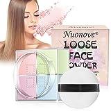 Poudre Libre, Poudre Compacte, Loose Face Powder, Quatre carrés de Poudre Pressée, Matifiant absorbe l'huile et réduit la brillance 12g