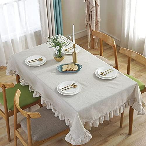 Lino, grandi, tovaglie rettangolari in cotone, tovaglie rotonde per tea party, decorazioni per la casa, 4 dimensioni tavolo 140x240 cm tinta unita