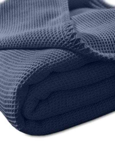 kneer KULTUR DER NACHT Waffelpique Decke, Baumwolle, Marine, 150 cm x 210 cm