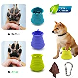 Dog Paw Cleaner Cup with Towel and Bottle Buckle Portable Simple Pet Foot Cleaner, Silicone Cleansing Massage Function 2 in 1, Pet Cleaning Brushes are Flexible, Durable and Reusable (Blue)