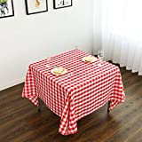 YRYIE 54 inch Square Polyester Buffalo Check Plaid Tablecloth Gingham Table Cloth for Family Dinners or Gatherings,Parties,Holiday Dinner,Red & White
