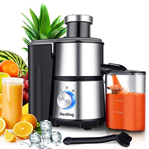 Nestling Centrifugal Juicer Juice Fruit and Vegetable, New Design Without Handle, 2 Speeds Juice Machine, MAX 600W, Anti-Drip Function, Non-Slip Feet, Stainless Steel and BPA Free