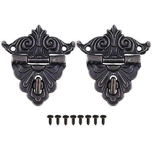 GTHER 2 Set 45x43mm Antique Vintage Latch Hasp Drawer Cabinet Wooden Jewelry Box Case Hasp Latch with Screws (Type C)
