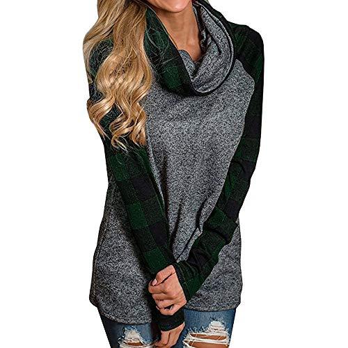 Damen Kapuzenpullover Lange Ärmel Hoodie Pullover Ronamick Damen Rollkragenpullover Tops Karierten Hemden Tunika Langarm Pullover Sweatshirt(XXXL, Grün)