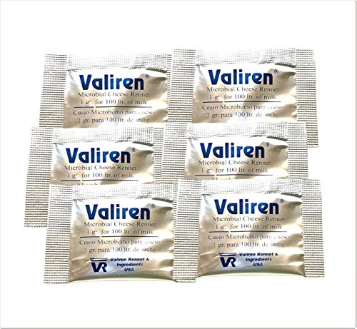 Cuajo microbiano Pack de 6 sobres (6 x 1 g) Usa una bolsita para 100 litros de leche..
