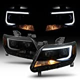 ACANII - For Blk Smoke 2015-2019 Chevy Colorado LED Tube DRL Dual Square Projector Headlights Driver + Passenger Side