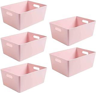 Wham Bam 5.02 Lot de 5 paniers de rangement en plastique Rose 35 x 26 x 15 cm