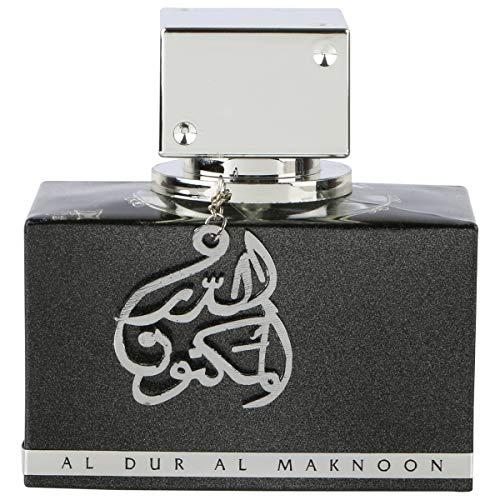 Lattafa Al Dur Al Maknoon Eau de parfum ambrée, fruitée, au patchouli et jasmin - Flacon argenté, 100 ml