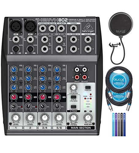 Behringer XENYX 802 Premium 8-Input 2-Bus Mixer with 48V Phantom Power Bundle with Blucoil 2-Pack of 10-FT Balanced XLR Cables, Pop Filter Windscreen, and 5-Pack of Reusable Cable Ties. Buy it now for 99.99