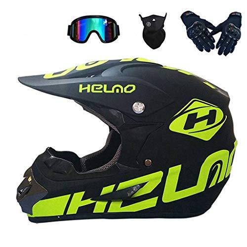 XIAOL Fahrradhelm Downhill Integralhelm in Schwarzgrün,Helm Enduro mtb Helm Motorrad Crosshelm Motocross Helm Herren Damen Sicherheit Schutz (M 54-55cm)