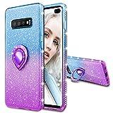 Maxdara Case for Galaxy S10 Plus Glitter Case with Ring Holder Gradient Kickstand Series Bling Sparkle Diamond Rhinestone Luxury Pretty Fashion Girls Women Case S10 Plus (Blue Purple)