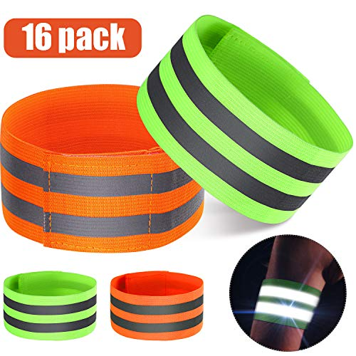 16 Pieces Reflective Bands Reflector Bands for Wrist, Arm, Ankle, Leg, High Visibility Reflective Gear Safety Reflector Tape Straps for Night Walking, Cycling and Running (Green, Orange)
