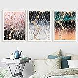 Cuadro de lienzo con forma de cubos de degradado rosa y gris, signos de metal, diseño de cueva, pub, placas de estaño, cartel para decoración de sala de estar, 60 x 80 cm, sin marco