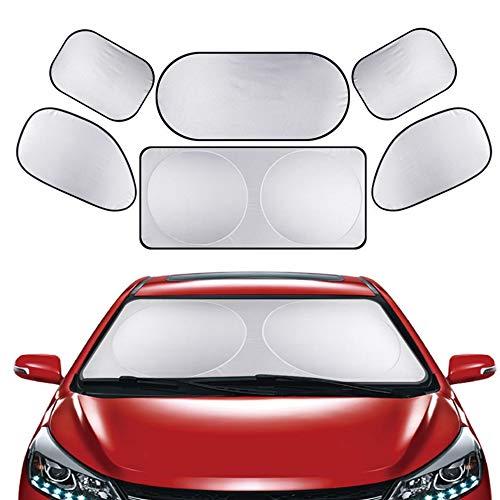 Nuluxi windscherm zonnescherm set zilver reflecterende voorruit beschermer auto zonnescherm volledige set van 6 beschermt uw gezin Baby kinderen en huisdieren tegen de zon beschermt uw auto schadevrij