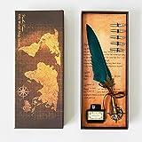 mreechan Pluma Feather pen,Pluma de Escritura,Antique Feather Pen Punta Vintage Pinta de Inmersión Metálica 5 Consejos Diferentes, Una Botella de Tinta y Caja (green)
