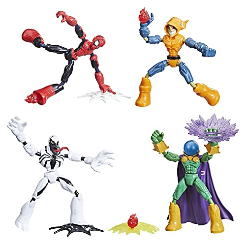 Spider-Man Marvel Bend and Flex Action Figure Toy 4-Pack, and Anti-Venom Vs. Marvel's Mysterio and Hobgoblin, Frustration Free Packaging (Amazon Exclusive)