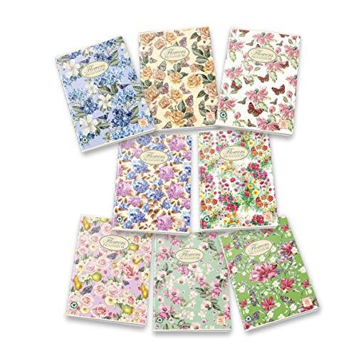 Pigna Nature Flowers - Quaderno A4, Quadrati 4 mm, senza margini, Pacco da 10 Pezzi, Colori Assortiti