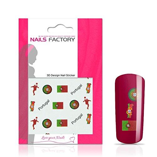 N&BF Nail Art nagelstickers voetbal | Socccer nagelsticker Portugal | Portugese vlaggen stickers voor kunstnagels en natuurlijke nagels | 3D nageltattoos voor WK & EM | landen vlaggen transfersticker