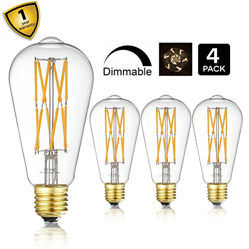 10W Edison Style Vintage LED Filament Light Bulb?ST64(ST21) Led Retro Bulb,100 Watt Equivalent Light Bulbs,Warm White 2700K,1200LM,Dimmable, E26 Medium Base Lamp, Antique Shape, (4 Pack)