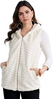 Vegan Fur Herringbone Vest Womens Hooded Chevron Outerwear Coat with Full Zip and Pockets