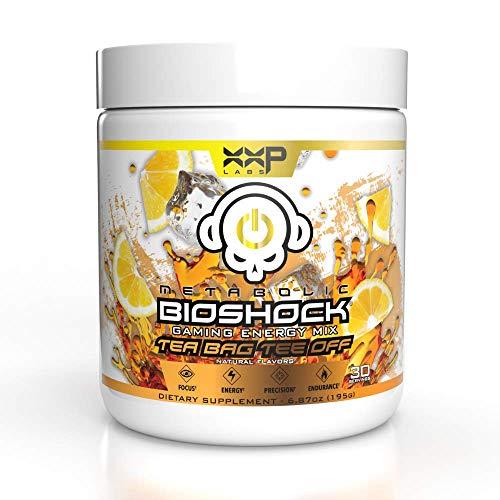 Dbl XP Labs Metabolic Bioshock - Tea Bag Tee Off - Gamer Energy Drink Powder, Elite Focus Formula, No Sugar with Natural Caffeine and Nootropics, 30 Servings, 195g