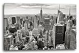 Printed Paintings Leinwand (120x80cm): Stadtebilder Skyline New York Schwarz-weiß Kunst Art Grau