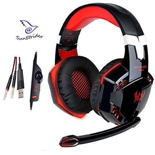 KOTION EACH Juego estéreo G2000C la Oreja los Auriculares con micrófono, Control de Volumen, bajo, Ruido Aislamiento y Luces de LED para PC (Negro y Rojo)