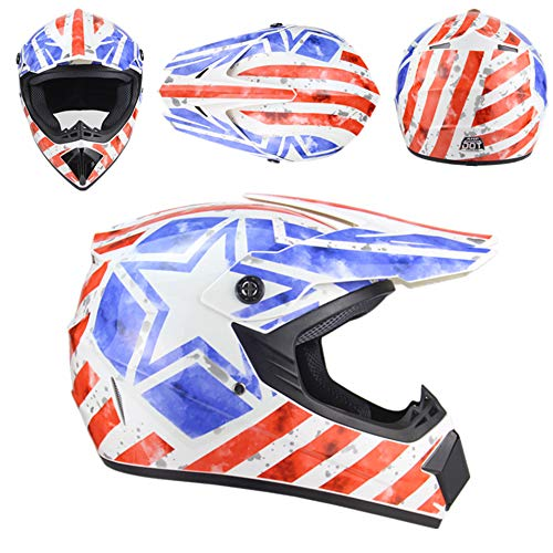 Daixiong Motorrad Helm Motocross Helme City Helme BMX Helme Motorrad Crosshelme, Kreative Persönlichkeit Lokomotive Mountainbike Helm, Handschuhe Maske Brille