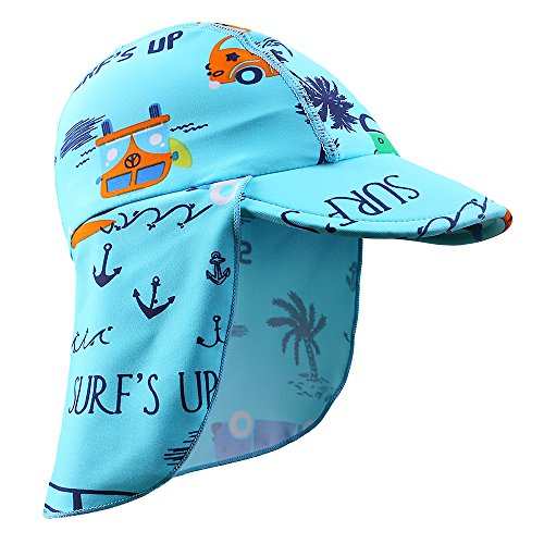 HUAANIUE Baby Toddler Sun Protection Hat UPF 50 + Flap Hat Blue 2-4 T