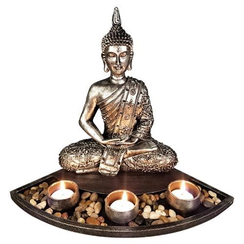 JONJUMP Japanese Buddha Statue Sitting Candle Holder Silver Buddha Zen Garden Candle Tray Home Decorations Tealight Candlestick