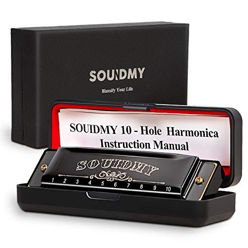 Armonica a Bocca, Souidmy Blues Harmonic 10 Fori 20 Tonalità, Scala Do Maggiore, Struttura del Piatto da 0.8mm, per Principianti e Bambini Pacco regalo esclusivo(Nero)