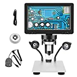 Kacsoo Microscopio Digital de 7 Pulgadas Microscopio HD 1200x Lupa Industrial DM9 de 12MP con Monitor de Alta resolución de 1080p por Moneda Al Aire Libre Observación Reparación de PCB