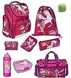 Familando Mia and Me Schulranzen-Set 9tlg. Scooli Export nur 950 Gramm mit Sporttasche, Federmappe und Regenschutz Mädchen-Schultasche 1. Klasse