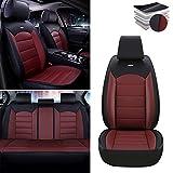 Fundas para asientos de coche para Mitsubishi Eclipse Montero Lancer Outlander, funda de asiento impermeable de piel sintética, juego completo Estándares negro rojo