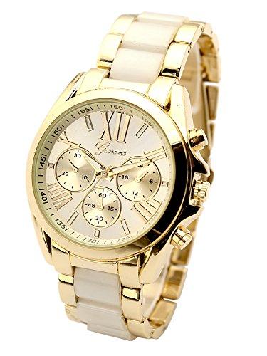 JSDDE Uhren XL Gold Männer Business Armbanduhr DREI unecht Chronograph Designer Panzerarmband Metall-Band analoge Uhr Quarzuhr(Beige)