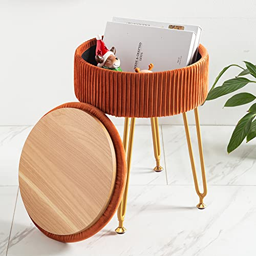 Velvet Storage Ottoman Foot Rest, Upholstered Pleated Round Footrest Vanity Stool with Metal Legs, Coffee Table Top Cover, Modern Accent Stools,Makeup Footstool, Suitable for Living Room and Bedroom