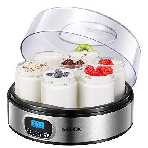 Yogurtiera Elettrica con Display LCD e 7 Vasetti da 200ml,...
