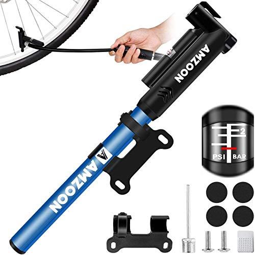 AMZOON Pompa Bicicletta Pompa Bici con Tubo Flessibile Mini Pompetta Bicicletta Portatile Applica Valvole Presta Schrader Gonfiatore Bici per Pompa MTB BMX Regalare Accessori Bicicletta