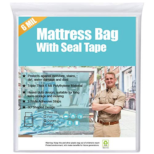 HOMEIDEAS 6 Mil Super Thick Sealable Mattress Bag for Moving King/CK, Heavy Duty Mattress Storage Bag with 3...
