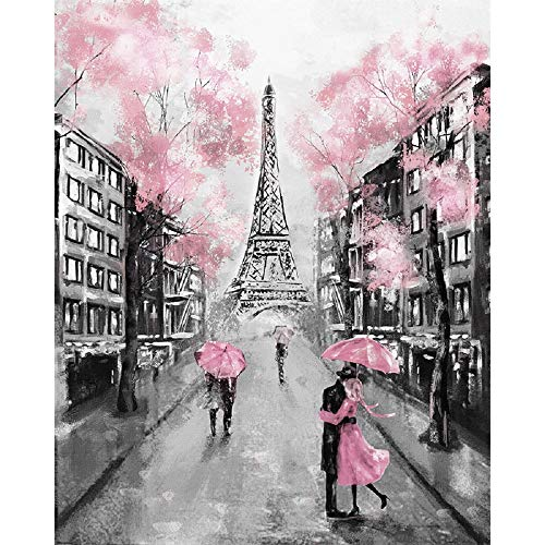 """Pink Romantic Lover Holding an Umbrella by The Eiffel Tower Print Wall Art Décor,Lover on The Retro Street Canvas Print Poster Wall Décor Art, Sweet Lover Picture Oil Painting Wall Mural (16""""×20"""")"""