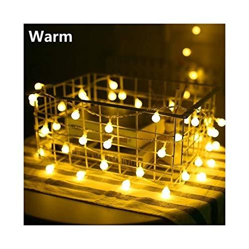 A-myt romántico y cálido LED Bola Guirnalda Promiscuo Hada Cadena Impermeable Afecto Lámpara Fiesta Fiesta de Boda Decoración Vistoso (Emitting Color : W, Style : USB Power)