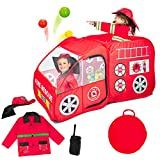 Fire Truck Pop Up Play Tent with Firefighter...