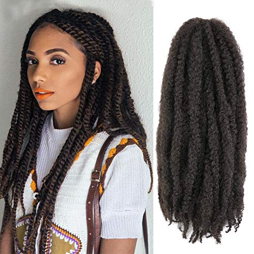 5 Packs Marley Twist Braiding Hair 18 Inch Long Afro Kinky Curly Marley Crochet Hair Kanekalon Synthetic Marley Braids Hair Extensions Marley Hair For Women (4#)