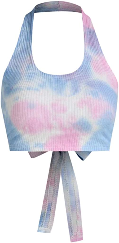 Gloned Women Tie Dye Knit Crop Tops Sexy Fashion Hanging Neck Lace-up Sleeveless Camisole Tank Tops Summer Streetwear